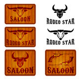 Set of saloon and rodeo emblems templates with bull heads. Stock Photo