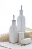 Set of salt, pepper and oil utensil stock photo
