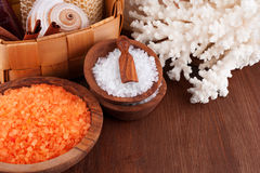 Set of salt for spa Stock Photos