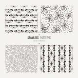 Set of samless doodle floral and art deco patterns. royalty free illustration