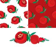 Set of samless pomegranatepatterns and isolated fruits Stock Photography