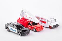 Set samochód zabawki nad białym tłem Zdjęcia Royalty Free
