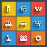 Set 9 samochodów wiszącej ozdoby i sieci ikony. Wektor. Obraz Stock