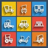 Set 9 samochodów wiszącej ozdoby i sieci ikony. Wektor. Zdjęcia Royalty Free