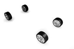 Set samochodowi koła nad biel Ilustracja Wektor