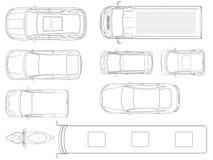 Set samochodu odgórny widok w konturze Wektorowy ustawiający kontur ikon samochody Miasto transport Widok wierzchołek ilustracja wektor