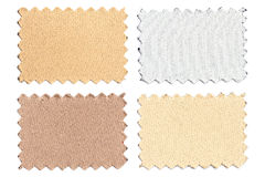 Set of sample pieces color fabric isolated on white Stock Photos