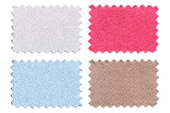 Set of sample pieces color fabric isolated on white. Background stock photography