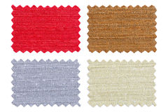 Set of sample pieces color fabric isolated on white Stock Image