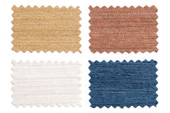 Set of sample pieces color fabric isolated on white Stock Images