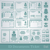 Set samples of documents cards tickets and certificates Royalty Free Stock Image