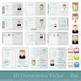 Set samples of documents cards tickets and certificates Stock Images