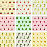 Set of samples seamless fruits backgrounds. Stock Photography