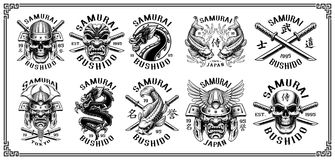 Set of samurai emblems for white background. Set of vintage samurai warrior emblems, badges, logos, shirt designs. Text is on the separate layer. VERSION FOR Royalty Free Stock Photo