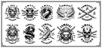 Set of samurai emblems on white background. Set of vintage samurai warrior emblems, badges, logos, shirt designs. Text is on the separate layer. VERSION FOR Stock Photos