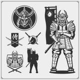 Set of samurai warrior masks, armor and weapon. Japanese warrior emblems, labels, badges and design elements. Print design for t-shirt royalty free illustration