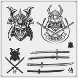 Set of samurai warrior masks, armor and weapon. Japanese warrior emblems, labels, badges and design elements. Print design for t-shirt stock illustration