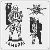 Set of samurai warrior masks, armor and weapon. Japanese warrior emblems, labels, badges and design elements. Print design for t-shirt vector illustration