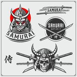 Set of samurai warrior masks, armor and weapon. Japanese warrior emblems, labels, badges and design elements. royalty free stock photos