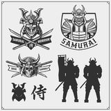 Set of samurai warrior masks, armor and weapon. Japanese warrior emblems, labels, badges and design elements. royalty free stock photo