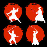 Set of Samurai Warriors Silhouette on red moon and black backgro. Und. Isolated Vector illustration Royalty Free Stock Photography