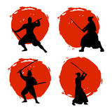 Set of Samurai Warriors Silhouette on red moon and white backgro. Und. Isolated Vector illustration Stock Images
