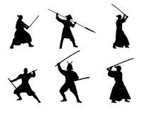 The Set of Samurai Warriors Silhouette on white background. Isolated Vector illustration Stock Photos