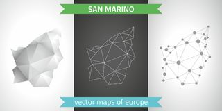 San Marino set of grey and silver mosaic 3d polygonal maps. Graphic vector triangle geometry outline shadow perspective maps. Set of San Marino polygonal mosaic Stock Photography