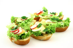 Set of sandwiches. Set of fresh small sandwiches with salmon and different fresh ingredients Stock Photography