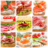 Set of sandwiches Royalty Free Stock Images
