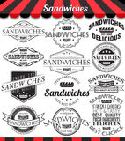 Set of sandwiches labels, badges and logos. Royalty Free Stock Image