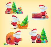 Set of santa claus with bag for 2017 new year. And xmas. Christmas holiday festive with santa claus and sledge logo with gifts and presents. For winter greeting Royalty Free Stock Images