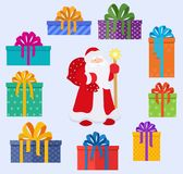 Set of Santa Claus character and christmas gifts boxes in holiday packages.   Stock Photography