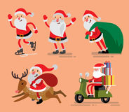 Set of Santa Claus and deer Royalty Free Stock Photo