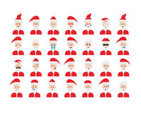 Set of Santa Claus emoticon vector isolated on white background. Royalty Free Stock Image
