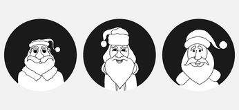 Set of Santa Claus face Royalty Free Stock Image