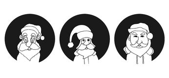 Set of Santa Claus face Stock Images