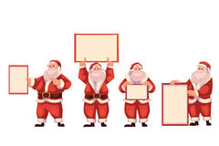 Set of Santa Claus holding a blank board Stock Images