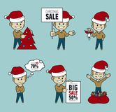 Set of Santa Claus men. Christmas sale.Big sale 50. Set of Santa Claus men. Christmas sale. Big sale 50. Holiday discount. Christmas characters. Collection of royalty free illustration