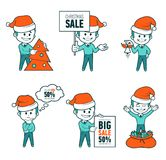 Set of Santa Claus men. Christmas sale. Big sale 50. Holiday discount. Christmas characters. Collection of Santa Claus. Character in different poses. Santa royalty free illustration