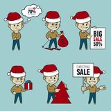Set of Santa Claus men. Christmas sale. Big sale 50. Santa. On skis. Santa with bag,Christmas tree, gifts and sale poster. Collection of Santa Claus. Character vector illustration