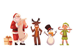 Set of Santa Claus, reindeer, snowman and elf Stock Photo