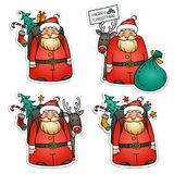 Set of Santa Claus stickers. Santa Claus with reindeer, packbag, Christmas tree and gifts.Holiday Christmas illustration. Set of Santa Claus stickers. Santa Royalty Free Stock Photos