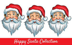 Set of Santa Clause  isolated heads. With different impressions Royalty Free Stock Photo