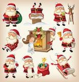 Set of Santa Clauses. Ready for christmas Stock Images