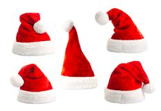 Set santa hat isolated Stock Photos