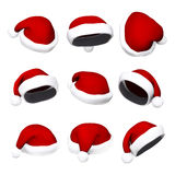 Set of Santa hats isolated on white 3d Stock Images
