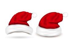 Set of Santa Hats on white background Stock Images
