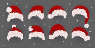Set Santa kapelusz, wektorowe ikony Szablon dla Bożenarodzeniowej fotografii i kartki z pozdrowieniami również zwrócić corel ilus ilustracja wektor