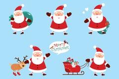 Set Santa klauzula z prezentami na błękitnym tle również zwrócić corel ilustracji wektora ilustracji